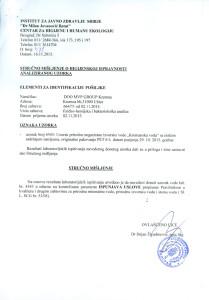 ANALIZA KREMANSKA VODA 6L0001-1